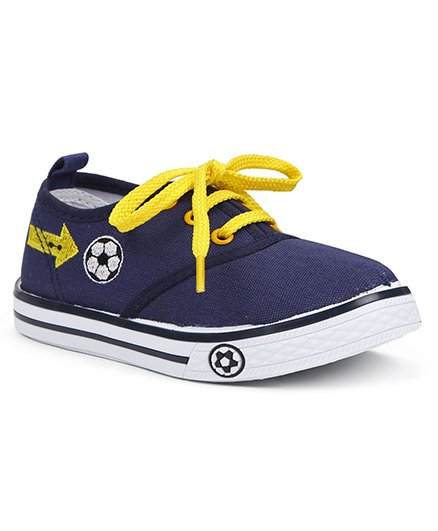 Cute Walk By Babyhug Casual Shoes With Football Embroidery - Navy
