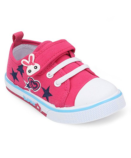 Cute Walk By Babyhug Casual Shoes With Star & Heart Embroidery - Fuchsia