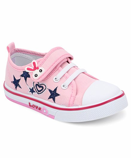 Cute Walk By Babyhug Casual Shoes With Star & Heart Embroidery - Pink