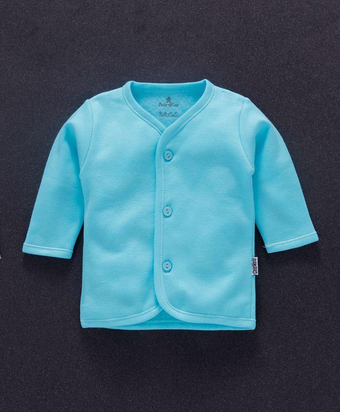 Child World Full Sleeves Fleece Vest - Aqua