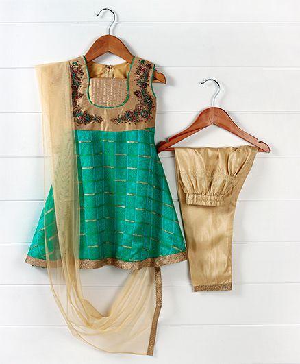 Babyhug Sleeveless Floral Embroidered Kurti & Churidar Set - Turquoise Beige