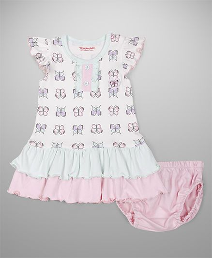 Wonderchild Printed Dress With Bloomer Set - White & Pink