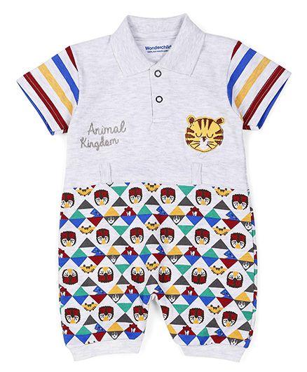 Wonderchild Half Sleeves Romper Stripes Print & Tiger Face Patch - Grey & Multicolor