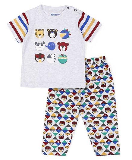 Wonderchild Half Sleeves Night Wear Set Animal Print - Multi Color