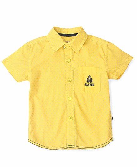 UFO Half Sleeves Shirt Polka Dots Print - Yellow