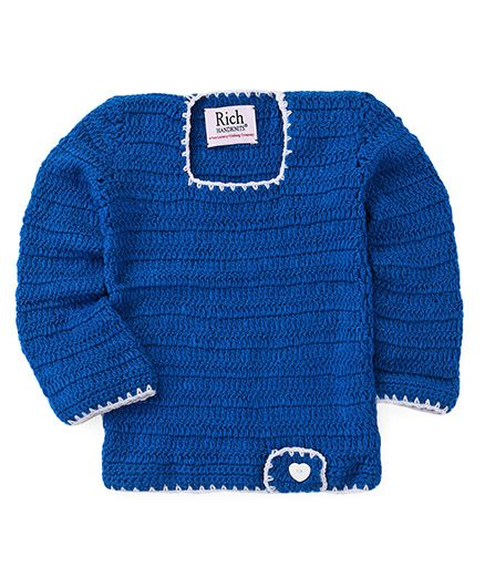 Rich Handknits Full Sleeves Crochet Design Woollen Dress - Blue