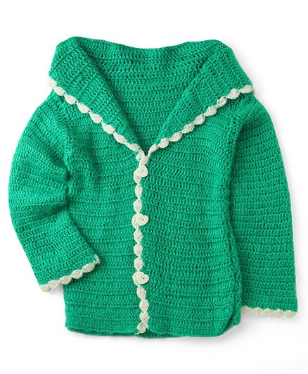 Rich Handknits Full Sleeves Crochet Sweater With Contrast Neckline - Green