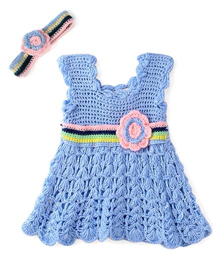 Rich Handknits Sleeveless Woollen Dress - Sky Blue