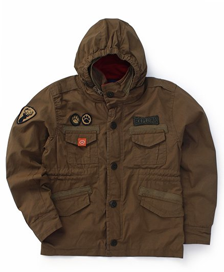 Little Kangaroos Full Sleeves Hooded Jacket With Patchwork - Khaki