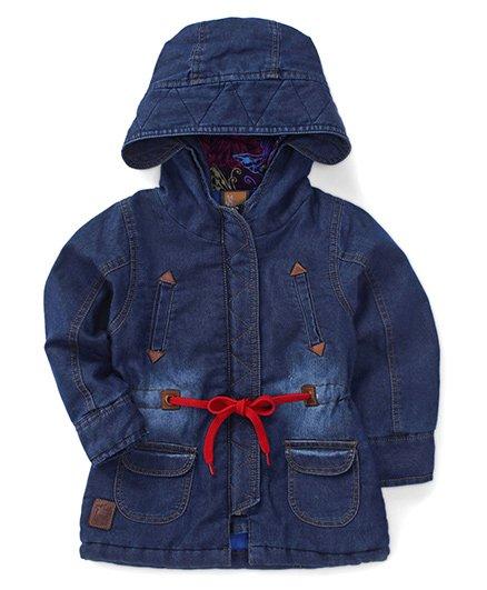 Little Kangaroos Full Sleeves Winter Wear Hooded Denim Jacket - Dark Blue