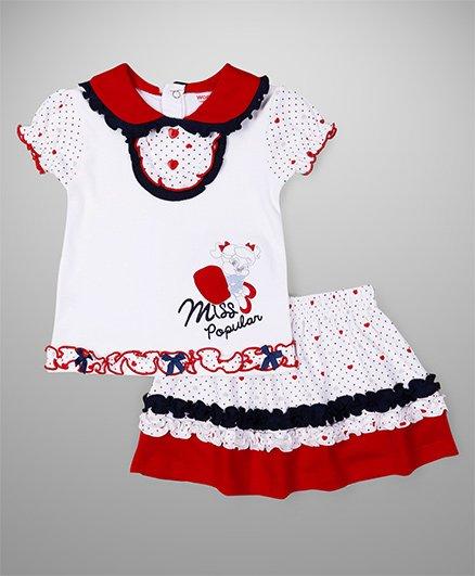 Wonderchild Miss Popular Design Top & Skirt Set - White & Red