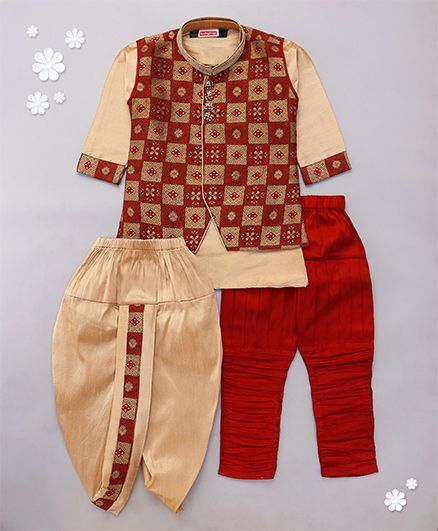Babyhug Full Sleeves Kurta Jodhpuri Breeches And Dhoti With Jacket - Maroon Golden