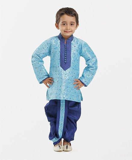 Babyhug Full Sleeves Paisley Design Dhoti Kurta Set - Turquoise Navy