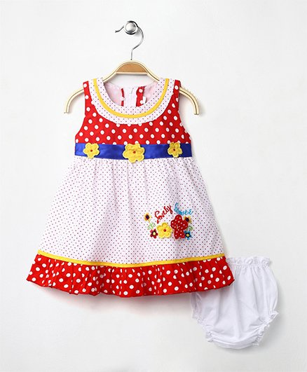 MPrincess Basics Flower Applique Cotton Dress - Red