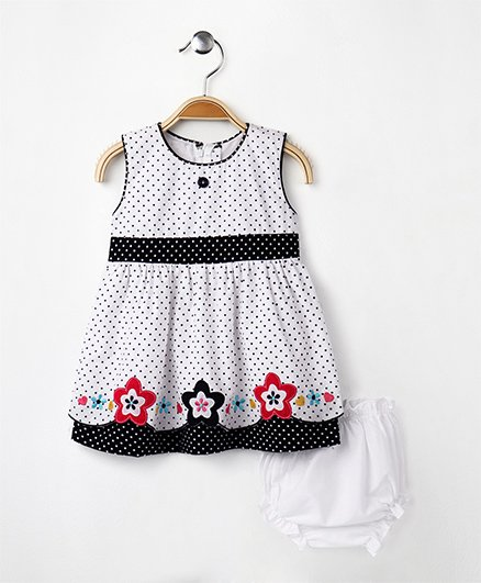 MPrincess Polka Print Cotton Dress With Bloomer - Blue