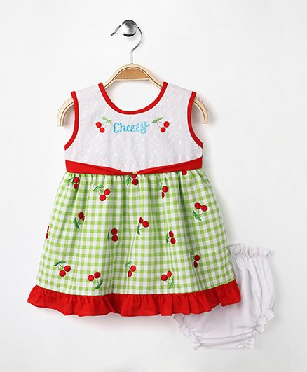 MPrincess Basics Cherry Cotton Dress With Bloomer - Green