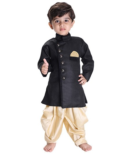 Jbn Creation Indo Western Biker Style Jacket With Cowl Dhoti - Black & Gold
