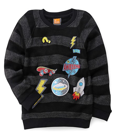 Little Kangaroos Full Sleeves Pullover Stripes Pattern With Prints - Black Grey