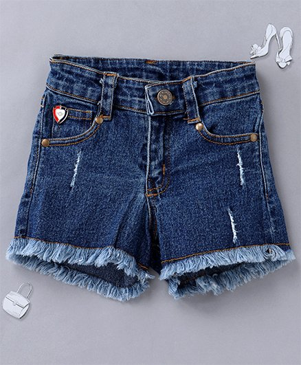 Olele Denim Shorts With Damaging & Fringing Effect - Blue