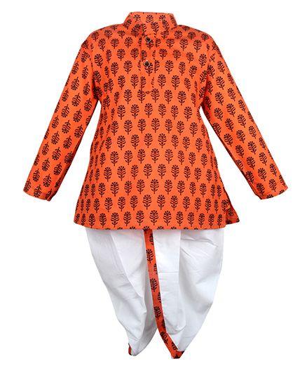 Bownbee Printed Kurta & Dhoti Set - Orange