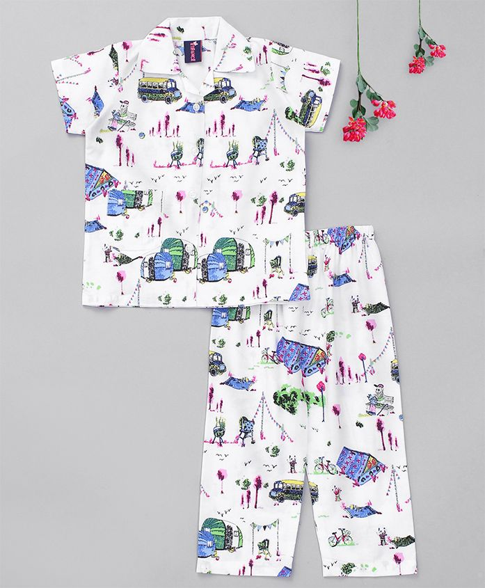 Enfance Core Printed Buses & Cycles Night Suit - White & Blue