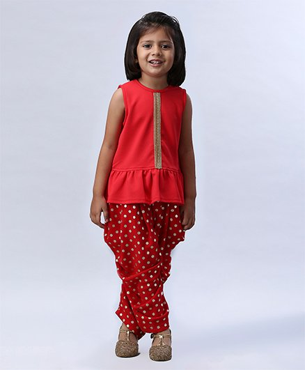 Soul Fairy Frilled Hem Top With Polka Dot Dhoti - Red