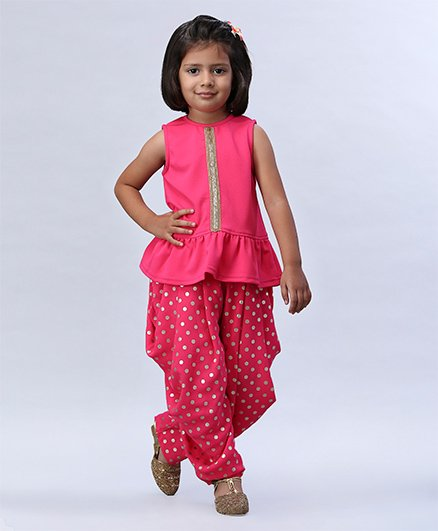 Soul Fairy Frilled Hem Top With Polka Dot Dhoti - Pink