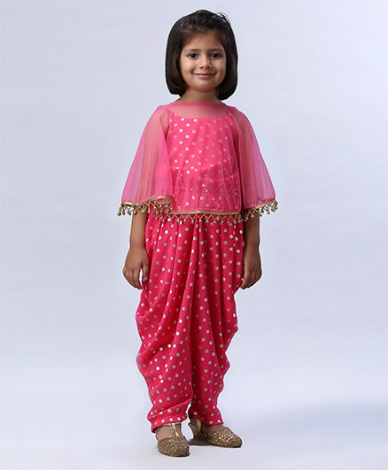 Soul Fairy Polka Dot Printed Jumper With Net Cape - Pink