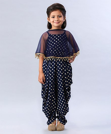 Soul Fairy Polka Dot Printed Jumper With Net Cape - Navy