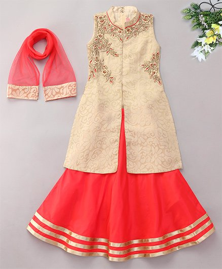 Violet Sleeveless Kurti And Lehenga With Dupatta Floral Embroidery - Fawn Red