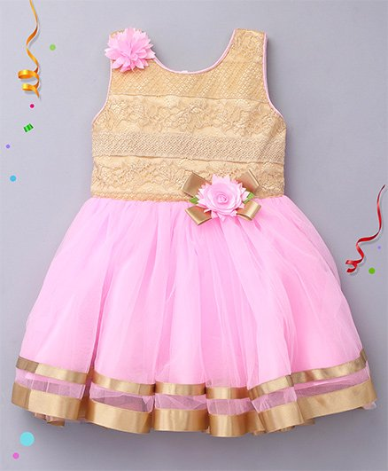 Enfance Sleeveless Dress With Flower Applique - Pink