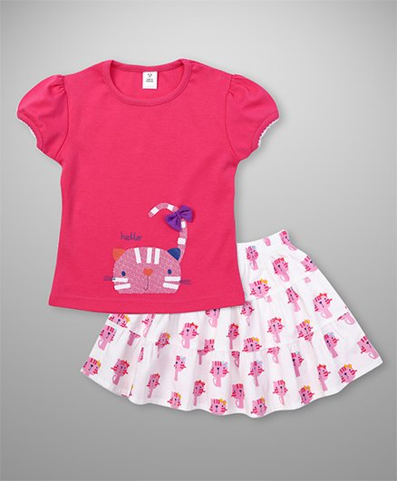 ToffyHouse Short Sleeves Top And Skirt Kitty Print & Bow Applique - Pink & White