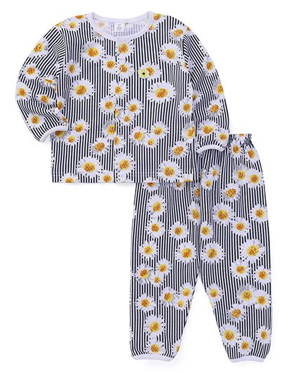 ToffyHouse Full Sleeves Night Suit Floral Print - Black White