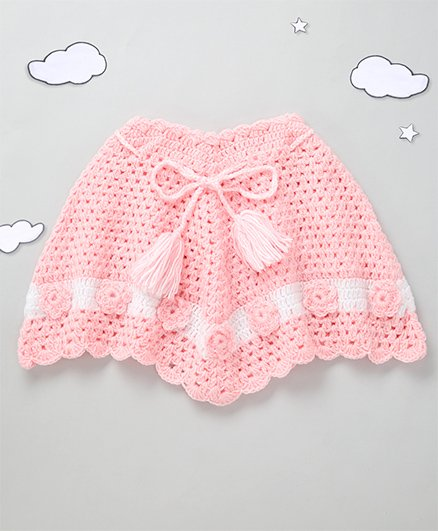 The Original Knit Flower Design Poncho With Tassels - Baby Pink