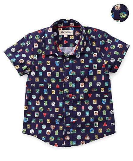 The KidShop Parachute & Flag Print Shirt - Blue
