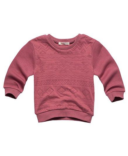 Fox Baby Full Sleevess Sweatshirt Self Design - Pink