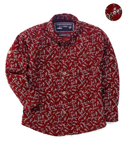 Jash Kids Full Sleeves Shirt Floral Print - Maroon