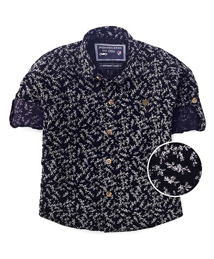 Jash Kids Full Sleeves Shirt Floral Print - Navy Blue