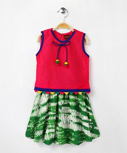 Twisha Cotton Top With Shibori Balloon Skirt - Fuchsia
