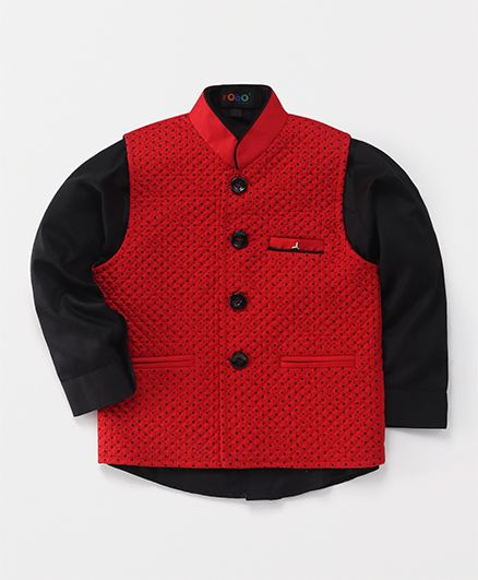 Robo Fry Party Wear Shirt With Jacket - Red Black