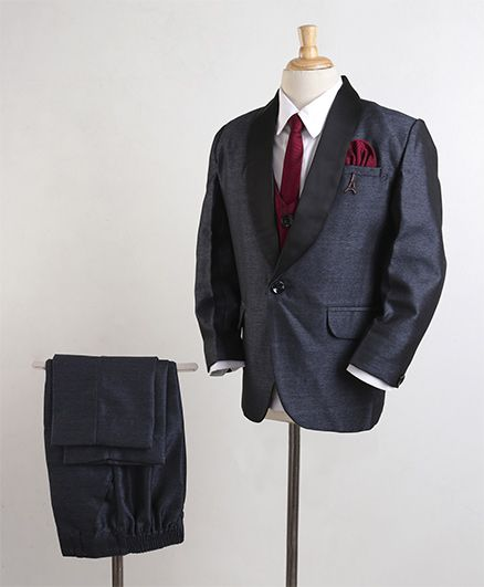 Robo Fry 4 Piece Party Suit With Tie - Blue Maroon White