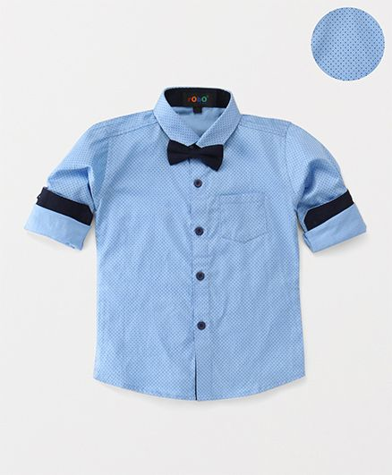 Robo Fry Party Wear Full Sleeves Dotted Shirt And Bow - Sky & Navy Blue
