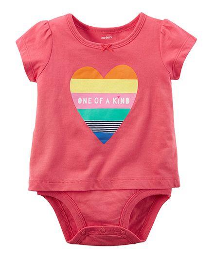 Carters Heart Double-Decker Bodysuit - Pink