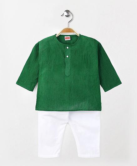Babyhug Full Sleeves Kurta Pajama Set - Green White