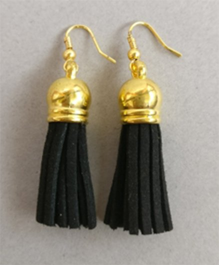Tiny Closet Tassel Earrings - Black