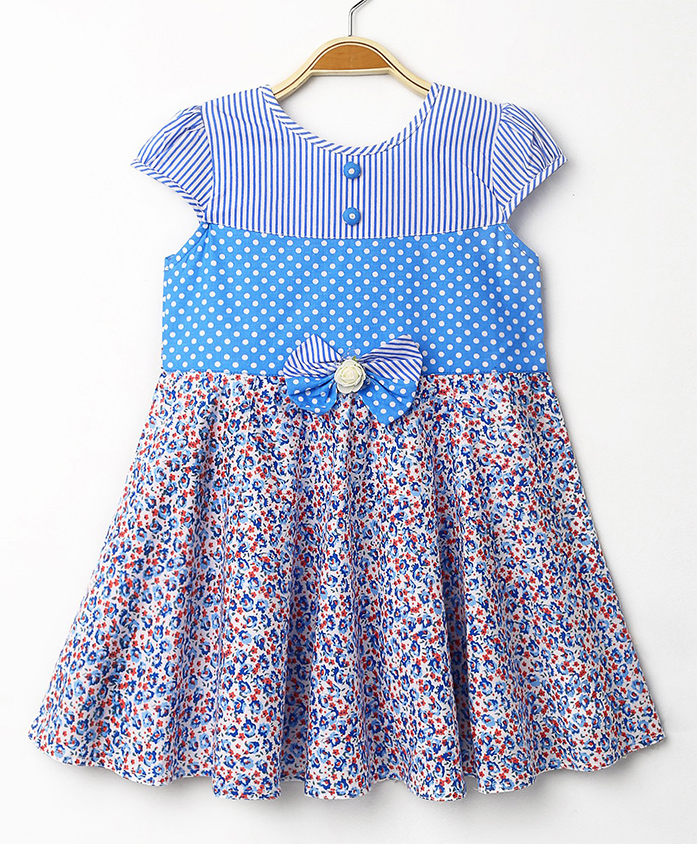 Enfance Core Cap Sleeves Casual Dress - Blue