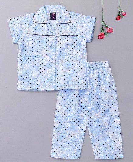 Enfance Core Polka Dot Night Suit - Blue