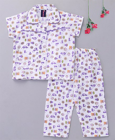 Enfance Core Printed Collared Night Suit - White & Purple