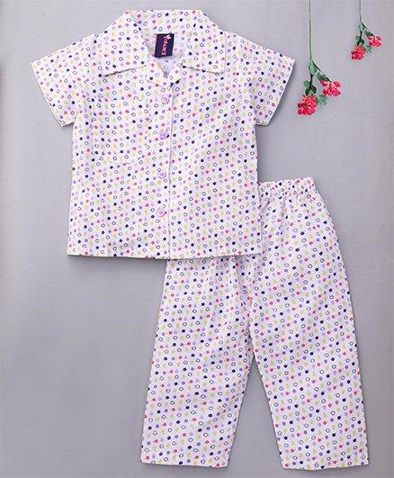 Enfance Core Polka Dot Night Suit With Stylish Collar - White & Purple