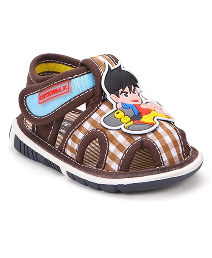 Cute Walk by Babyhug Sandals Cartoon Patch And Checks Print - Coffee Brown